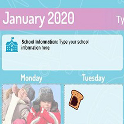 K12 Monthly Menu Templates Resource Page